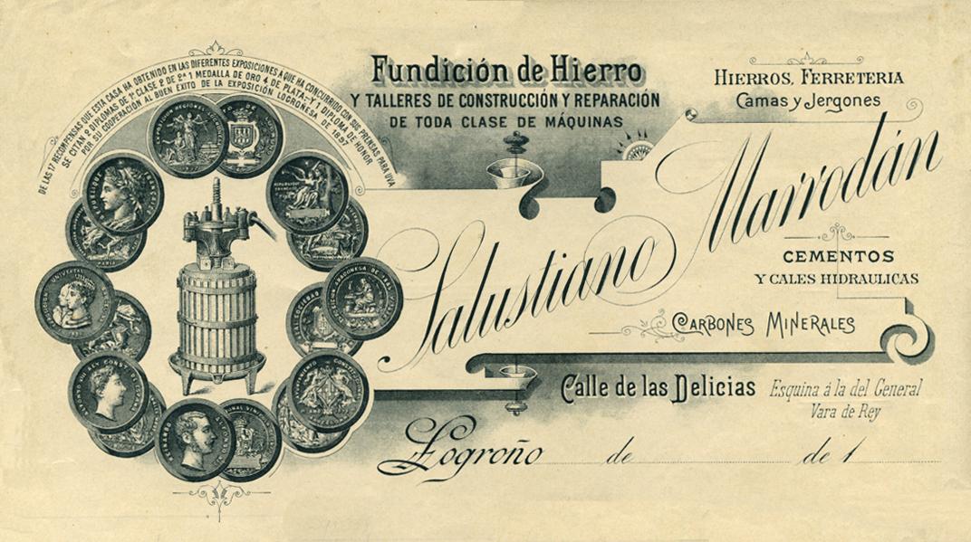 Documento original de los talleres de Salustiano Marrodán